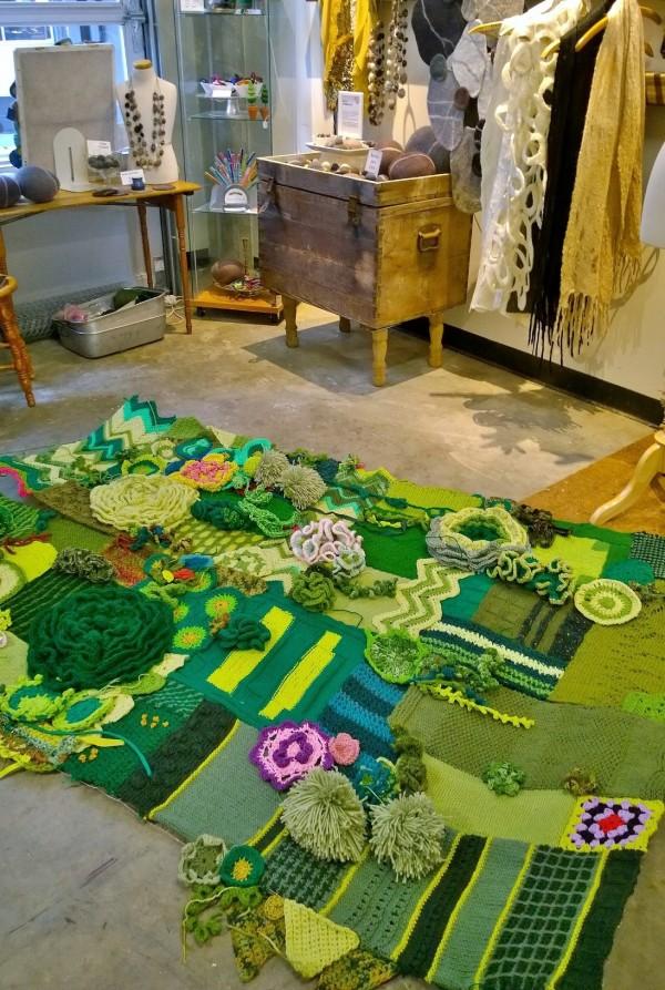 Green wall yarnbombing